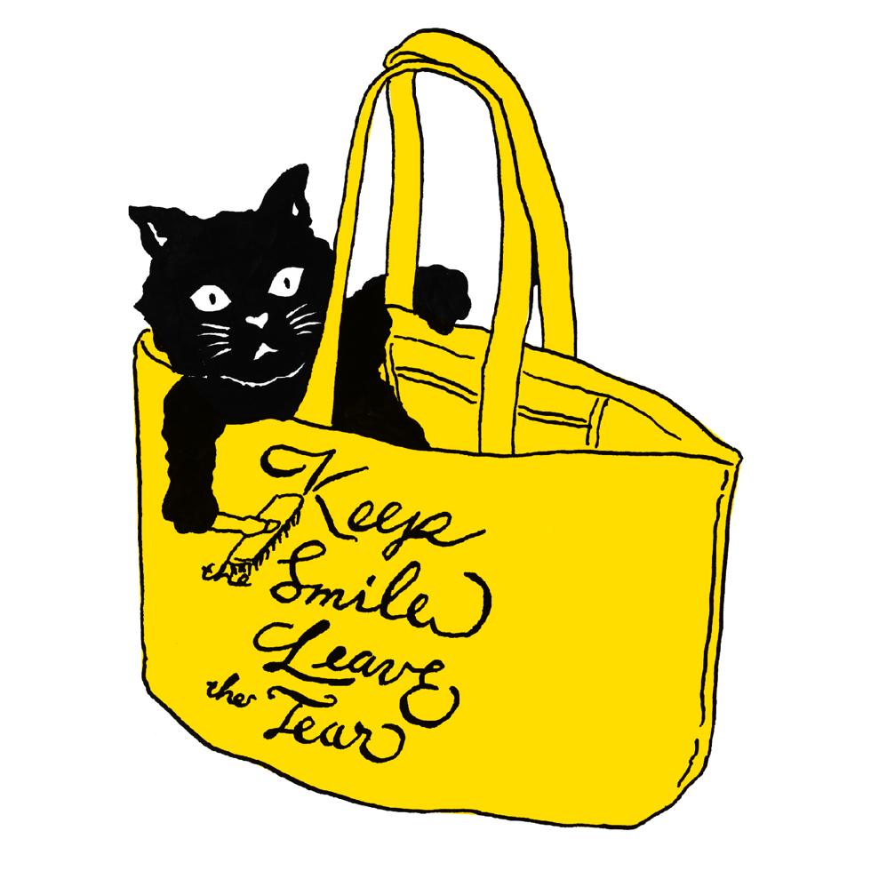 黒猫の黄色いトートバッグ