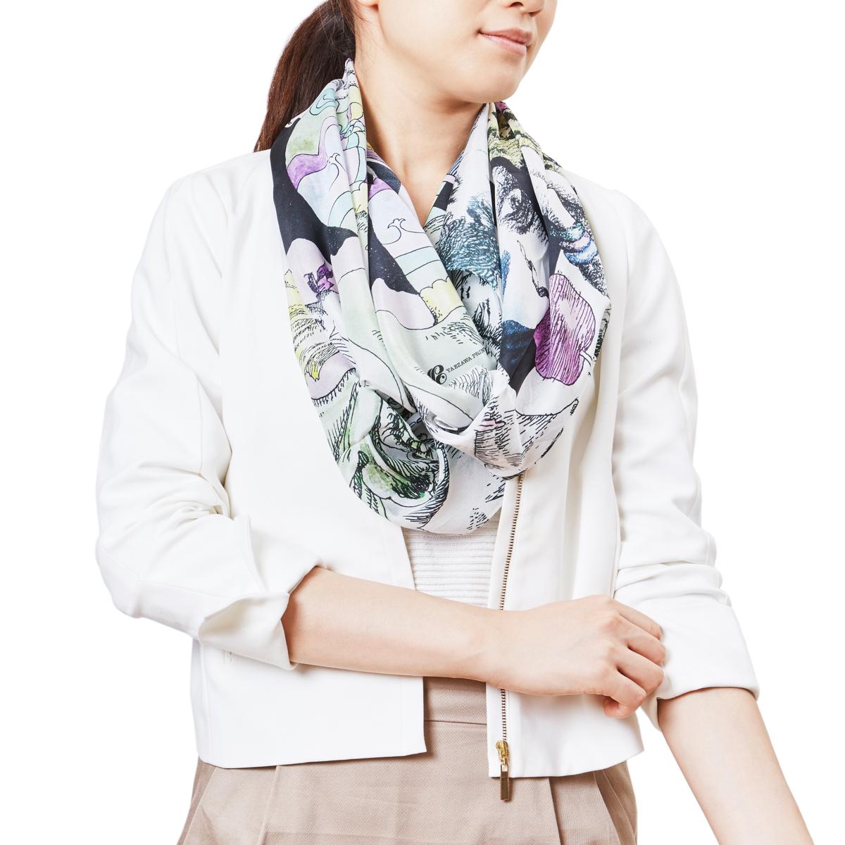 yaezawaとコラボ 宇野亜喜良氏の作品を織り込んだスカーフとストール