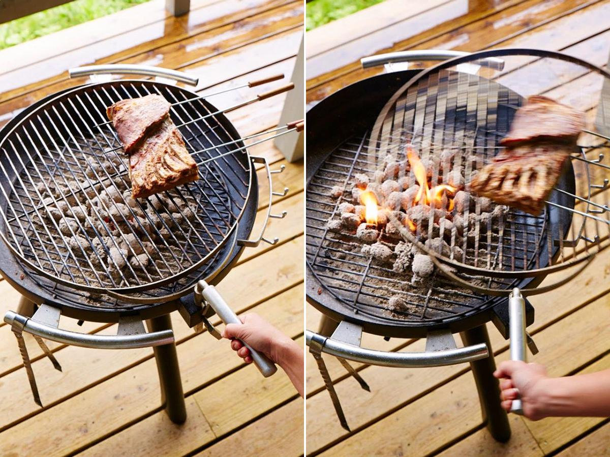 持ち手を動かすだけで、焼き網が横にスライドする設計の「BBQグリル」|SWINGGRILL