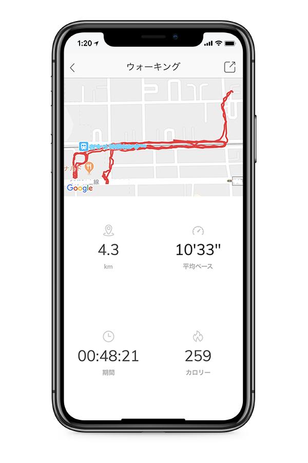 動いたルートと距離、ペース、消費カロリーを記録しつづけてくれる「ランニング」「自転車」「ウォーキング」機能付きのスマートウォッチ(フィットネスタイプ)|noerden