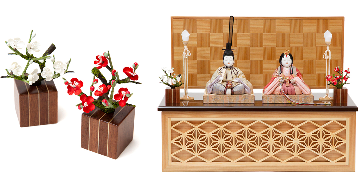購入特典|よりプレミアム感を演出できる箱根寄木細工「花」をプレゼント!モダンな美しい日本の伝統工芸が結集した木目込みプレミアム雛人形|柿沼東光の宝想雛