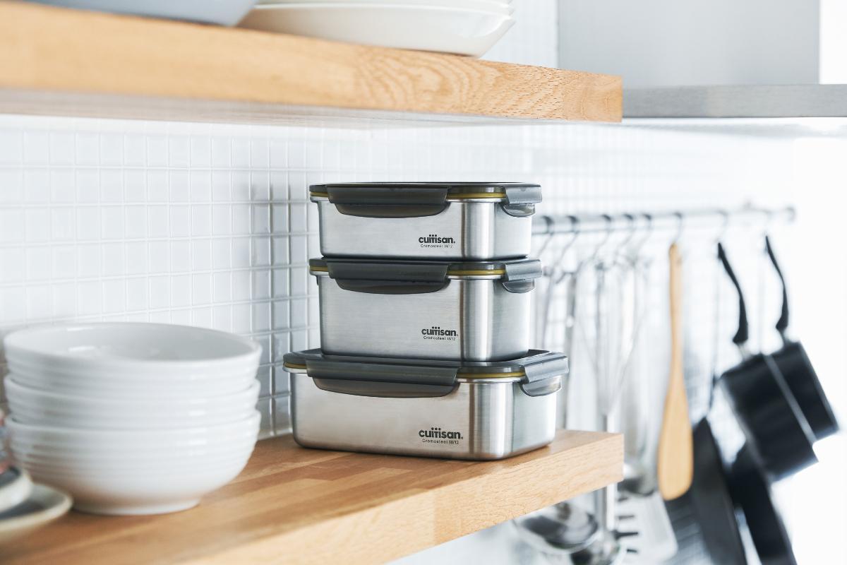 独自開発のステンレス素材だからレンジ料理ができる|電子レンジ・オーブン・冷凍・食洗機OK、調理もできるステンレス保存容器(大中小3点セット)|cuitisan(クイッティサン)