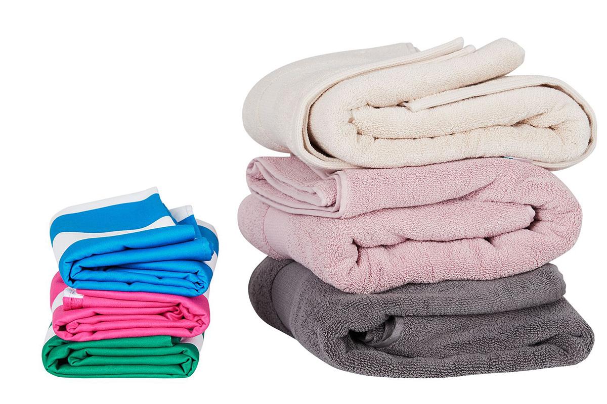 コットンのバスタオルにくらべて、ずっと薄いのに、水をグングン吸い取ってくれるから、お風呂上がりにサッと体に巻き付けるだけで、ほとんど拭き上がる、便利なカラフルタオル(ビーチタオル)|DOCK & BAY