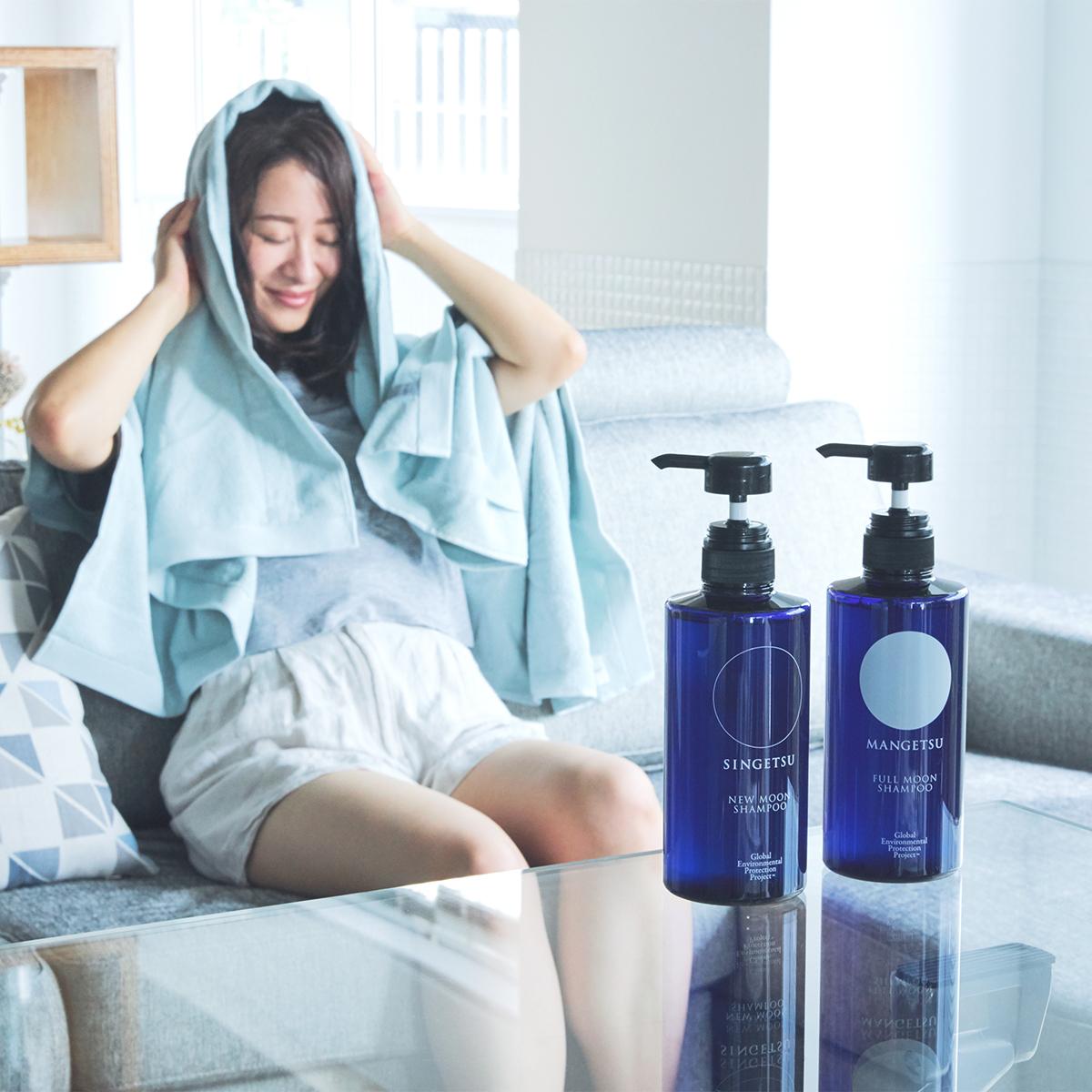 頭からつま先まで、いっぺんに洗えるから、いつものシャワーよりずっとラクな全身シャンプー|『MANGETSU(満月)』『SHINGETSU(新月)』Jam Label(ジャムレーベル)