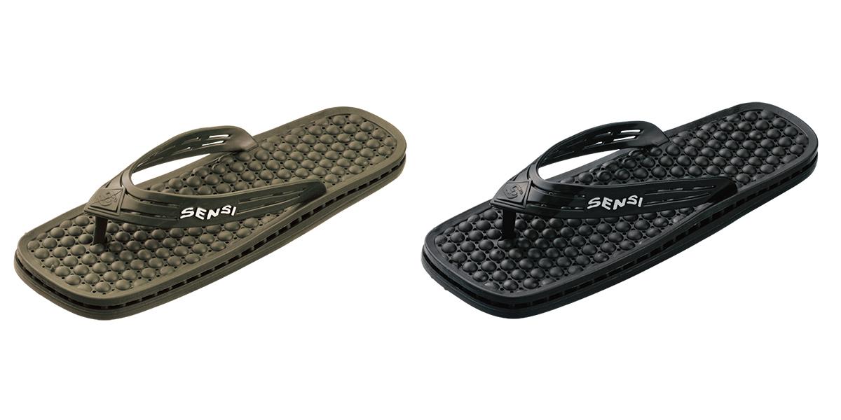 履き心地のよさは折り紙つきのうえ、お洒落なデザインだからリゾートやショッピングの時も、気軽に履けます。半球状の突起が、心地よく足裏マッサージしてくれる「健康サンダル」|SENSI
