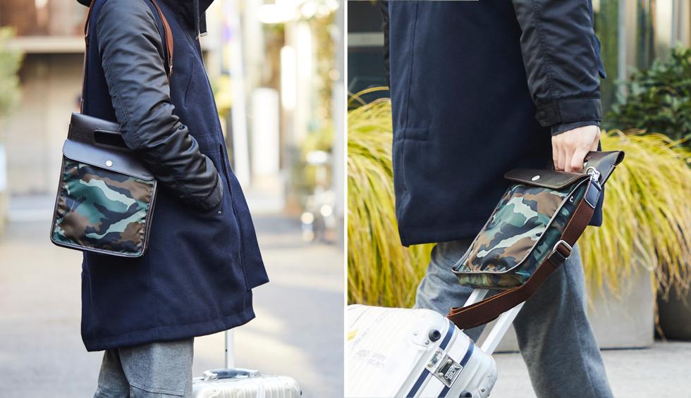 お洒落なショルダーバッグをスーツケースに被せたら、片手で楽に移動ができるバッグ | COVEROO(カヴァルー) by ROOTOTE