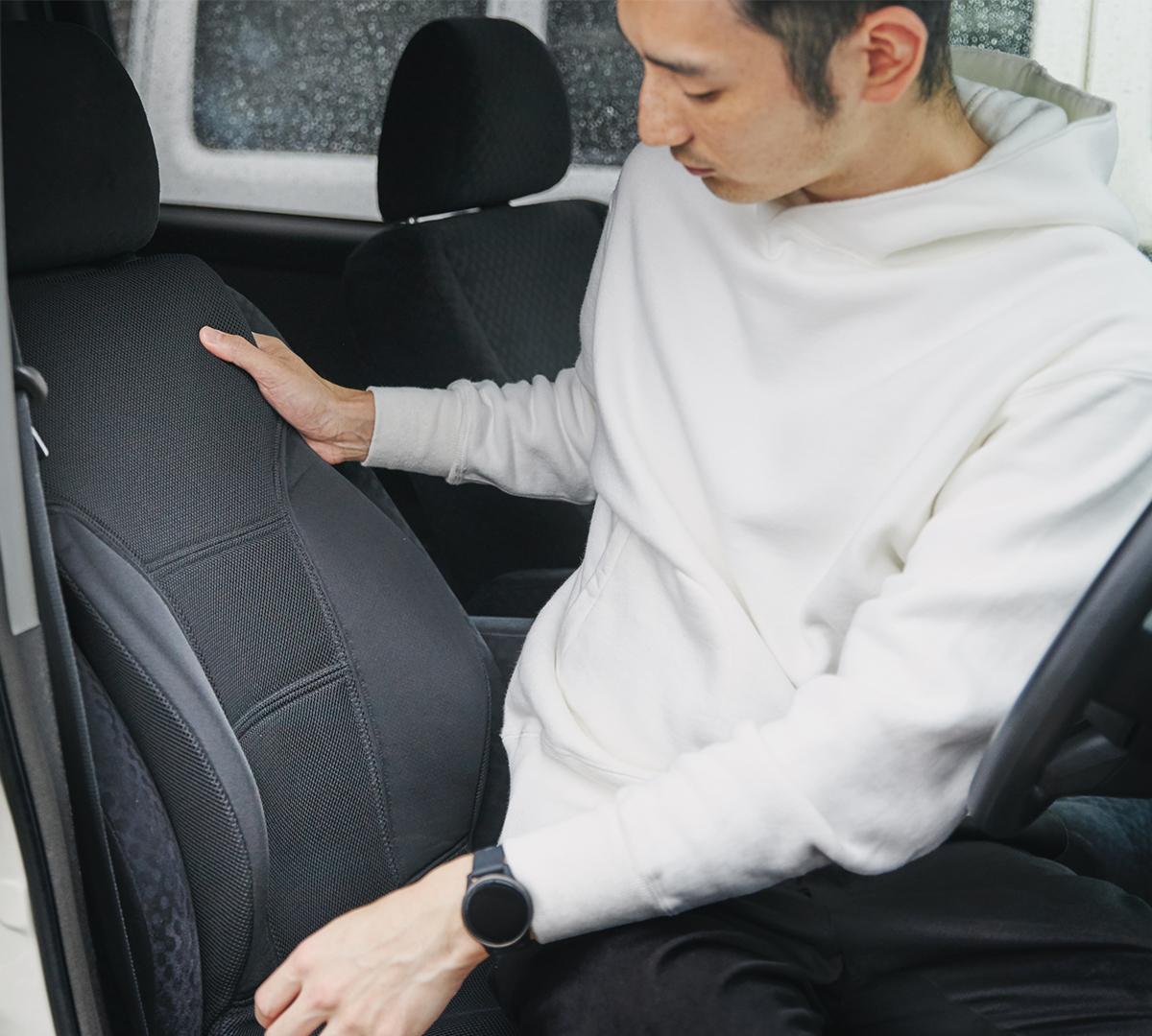 サービスエリアいらずの快適さ。置くだけで、運転中ずっと、腰・背中・お尻がラクな車用シートクッション|P!nto Driver