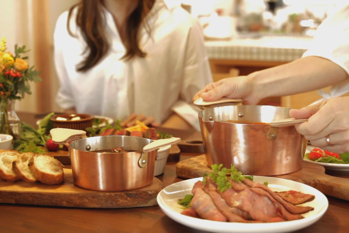 飴色の輝きが美しい料理が美味しくなる銅のフライパン・卵焼き器・鍋|ameiro