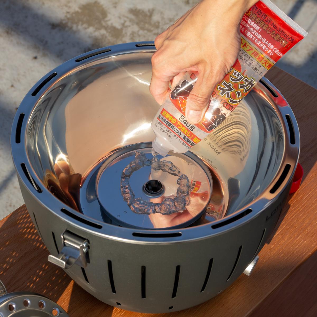 手順1|煙が少ない火力調節ファン付きロースターで、大人の気楽なBBQができる「炭火焼グリル」(一人キャンプ、ソロBBQに)|Lotus Grill