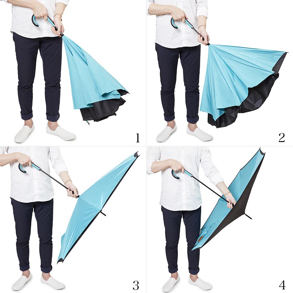 簡単に開ける逆さに開く傘
