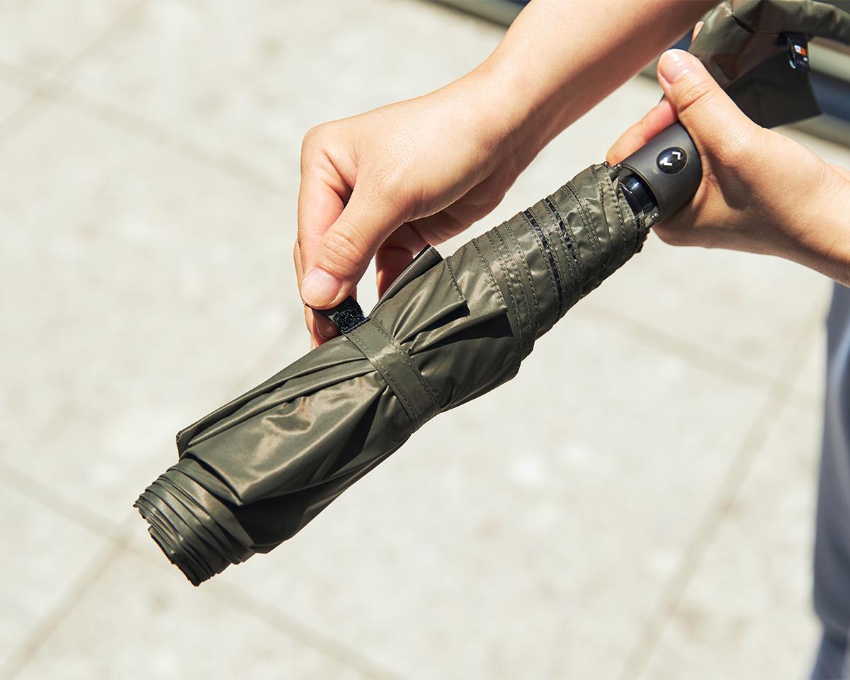 薄い傘生地|日傘・雨傘|《晴雨兼用》指1本でカンタン開閉!丈夫なコーデュラ生地で仕立てた「自動開閉式折りたたみ遮光傘」|HEAT BLOCK ×CORDURA Fabric|VERYKAL LARGE