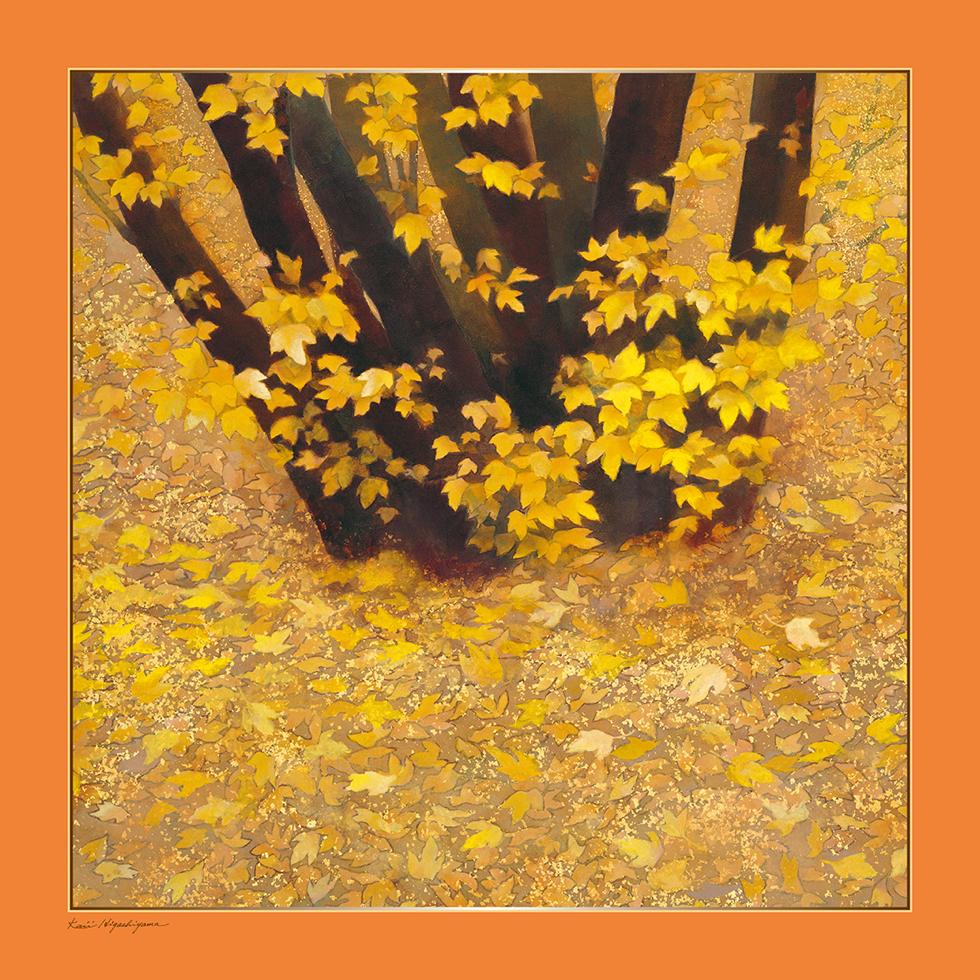 東山魁夷の日本画が描かれたシルクスカーフ「行く秋」