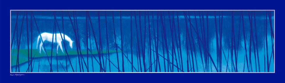 日本画家・東山魁夷の日本画が描かれたシルクストール「水辺の朝」