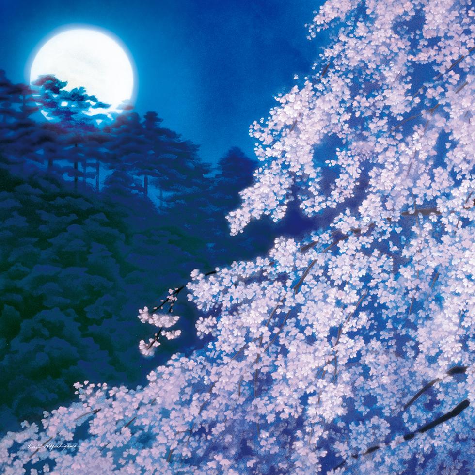 日本画家・東山魁夷の日本画が描かれたシ風呂敷「宵桜」