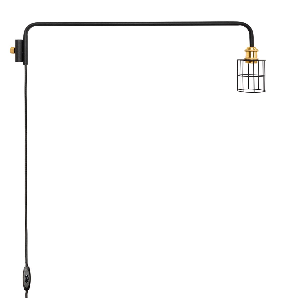 ワイヤーを編んだランプシェードに、91.5cmの長めアームをくっつけた「ランプ」。照明とテーブルがセットできる「つっぱり棒」|DRAW A LINE ランプシリーズ