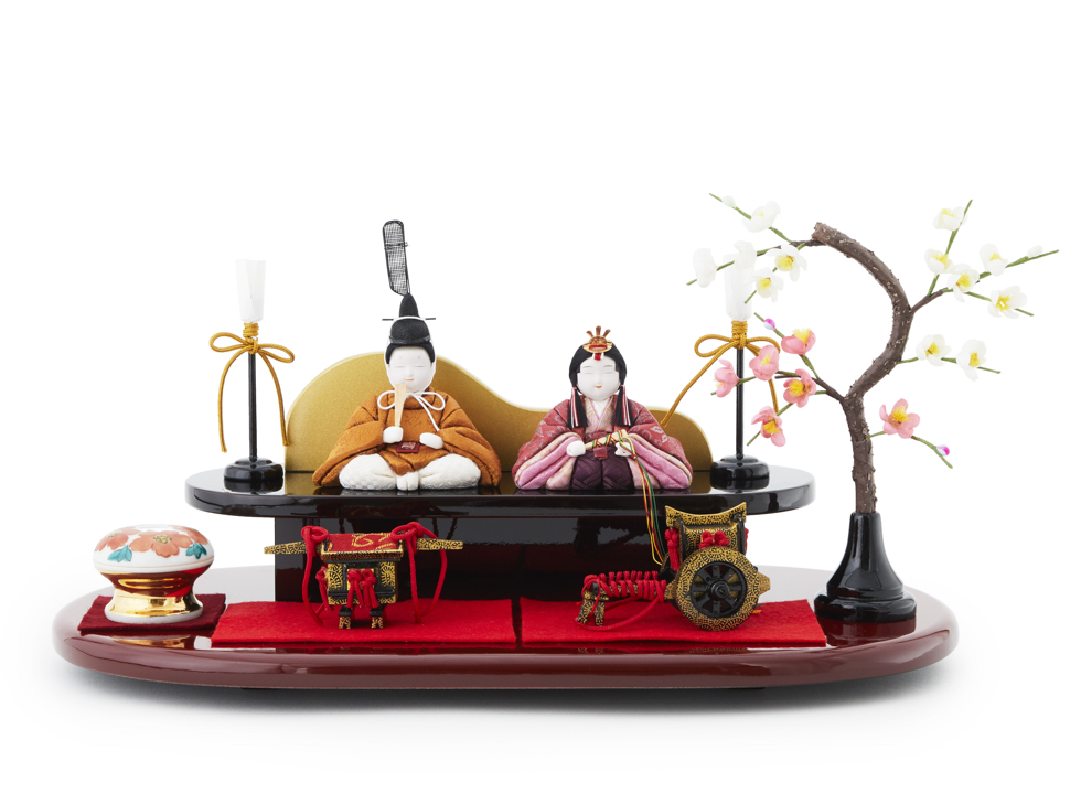2019年新天皇即位を記念してデザイン、おしゃれなモダンリビングやダイニング、玄関に飾れるコンパクト木目込み雛人形 | 柿沼人形