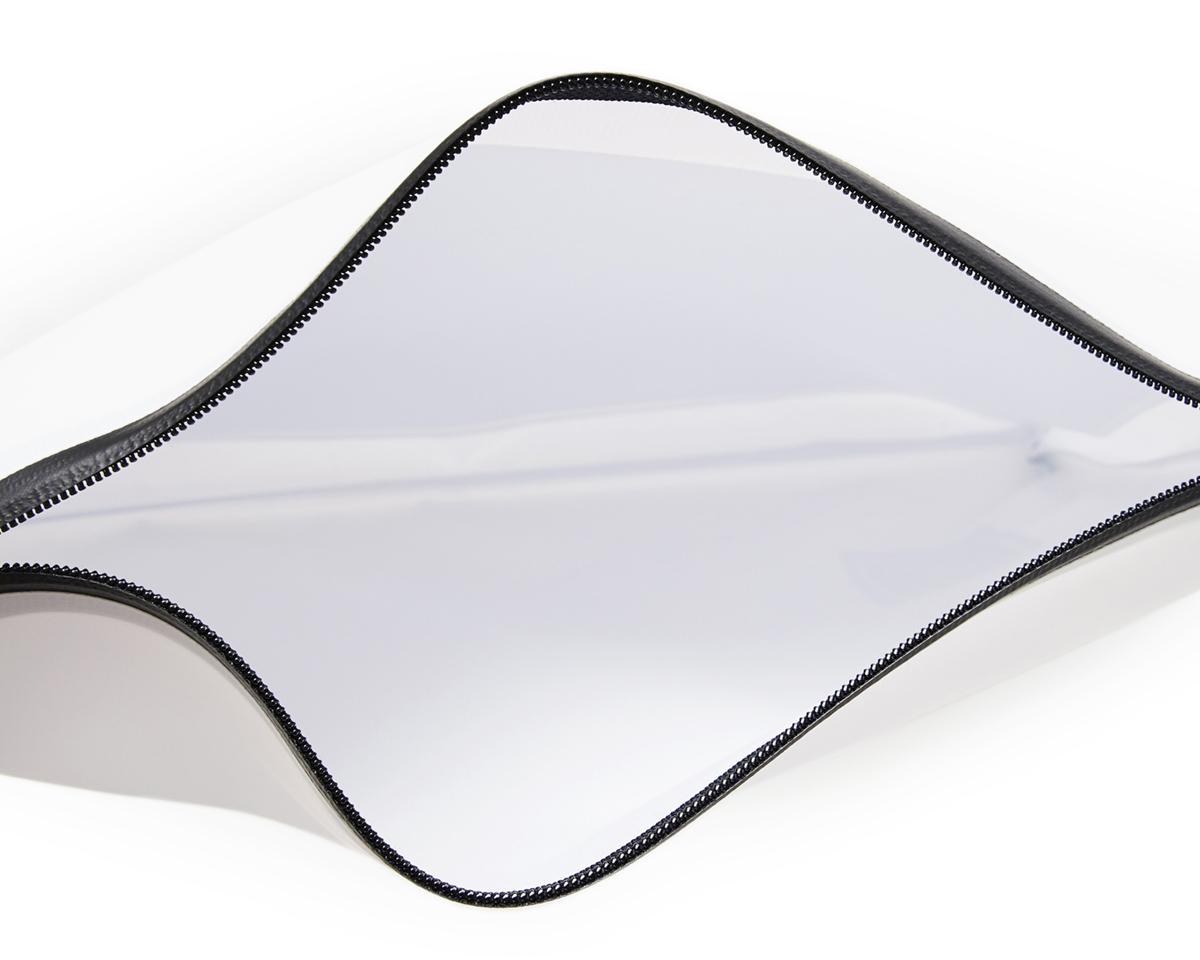 止水加工のファスナーで防水性を高くしたクラッチバッグ