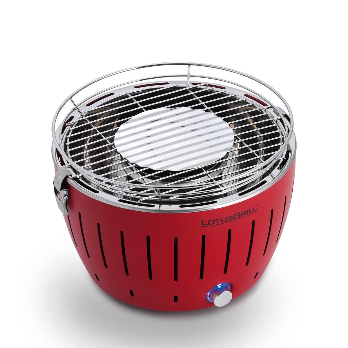 煙が少なく、スピード着火ができる独自構造。煙が少ない火力調節ファン付きロースターで、大人の気楽なBBQができる「炭火焼グリル」(一人キャンプ、ソロBBQに)|Lotus Grill