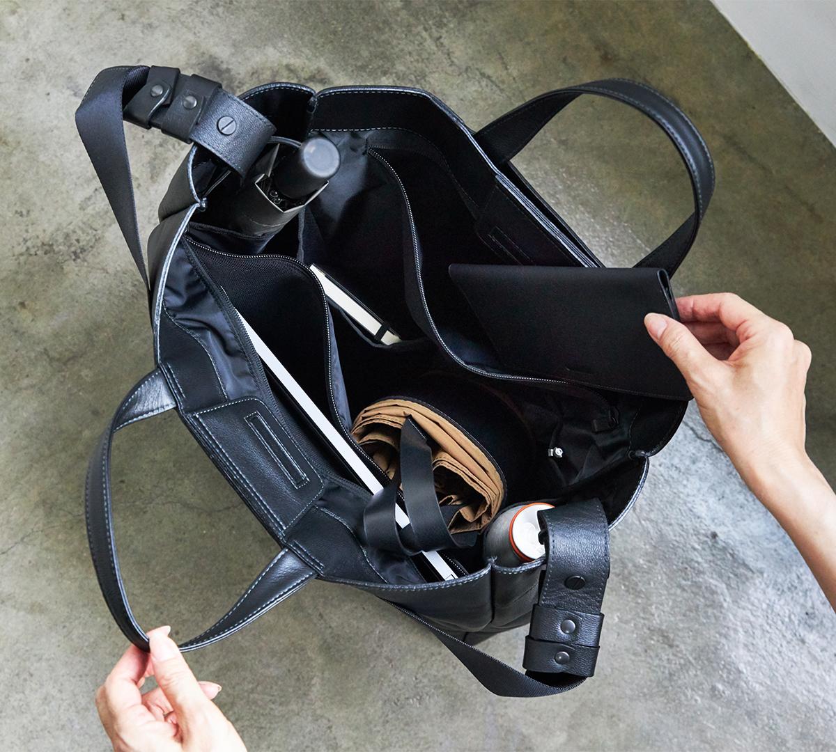 整理整頓しやすい仕切り・ポケット構造|防水レザー、超軽量、直感ポケット付きの日本製レザーバッグ|PCバッグ・トートバッグ・リュック・バックパック|FARO(ファーロ)