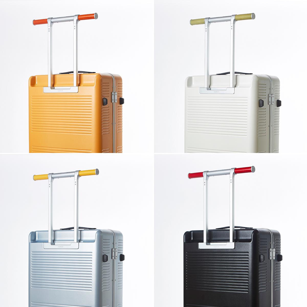 オプションのレザーハンドルをカスタマイズして、自分好みの配色にできるスーツケース|RAWROW