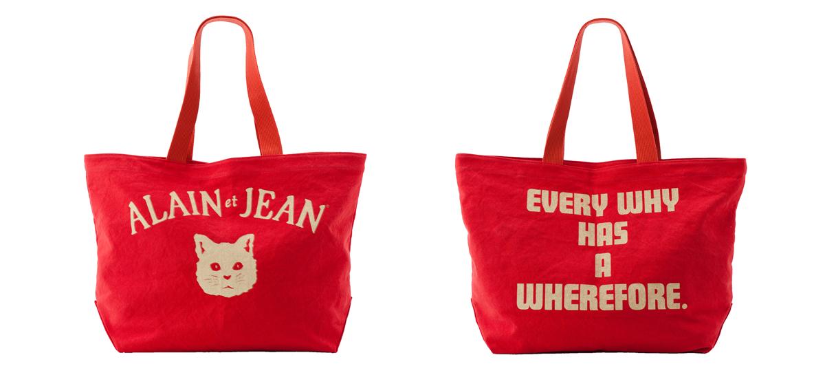 猫柄の赤いキャンバストートバッグ