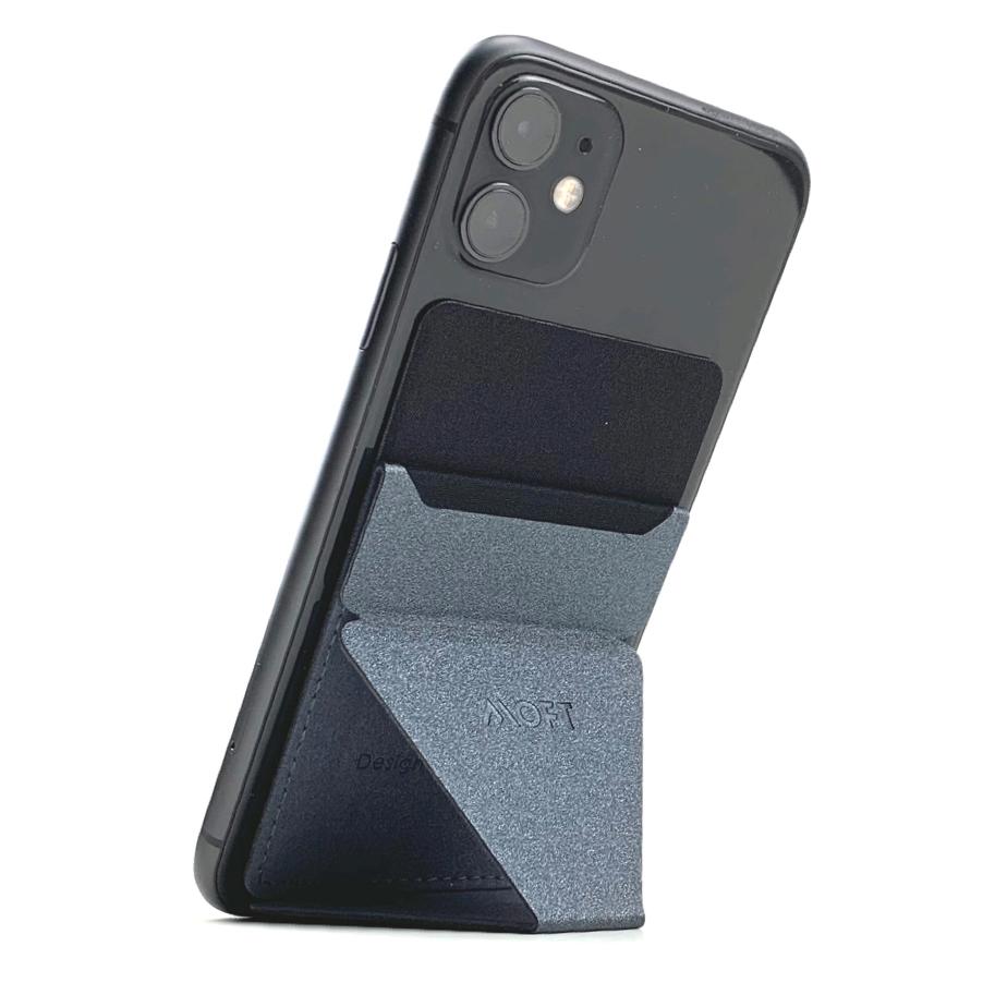 レザータッチな質感で、革小物との相性も抜群キズや汚れが目立ちにくい「ダークグリーン」「ネイビー」「ブラウン」|ポリウレタンとファイバーグラス素材の「グレー」。|縦・横どちらの向きでも設置OK!カードポケット付き「スマホスタンド」|MOFT X(モフト エックス)