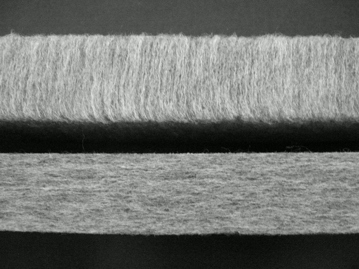 「硬柔2層構造」のうち、下層は、コシの強いポリエステルが縦方向にびっしり。さらに、斜め方向にも編み込み済み。|整形外科医銅冶英雄(どうや・ひでお)先生が考案した、硬柔2層構造が、体のカーブを正しくキープしてくれる折りたたみ型の腰痛対策マットレス・ベッドパット|ドウヤメソッド