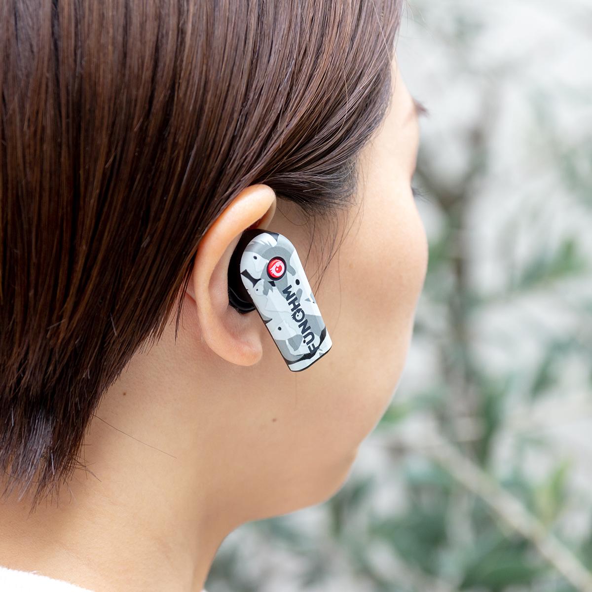 男性でも女性でも快適にフィット。新発想!耳から落ちない、音が途切れない、20時間再生OKのワイヤレスイヤホン|FUNOHM