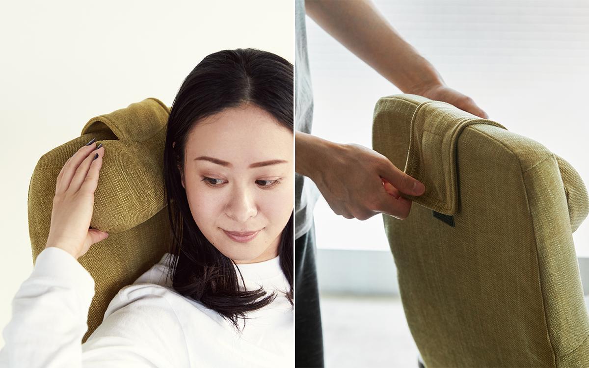 頭を支えるヘッドレストの角度も、手で14段階に調節できるので、いろんな場面で使えます。体にいい姿勢でリラックス!首も腰も好きな角度に調節できる寝椅子(リクライニングチェア)|P!nto