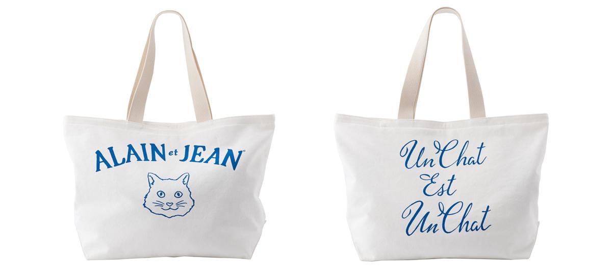 猫柄の白いキャンバストートバッグ