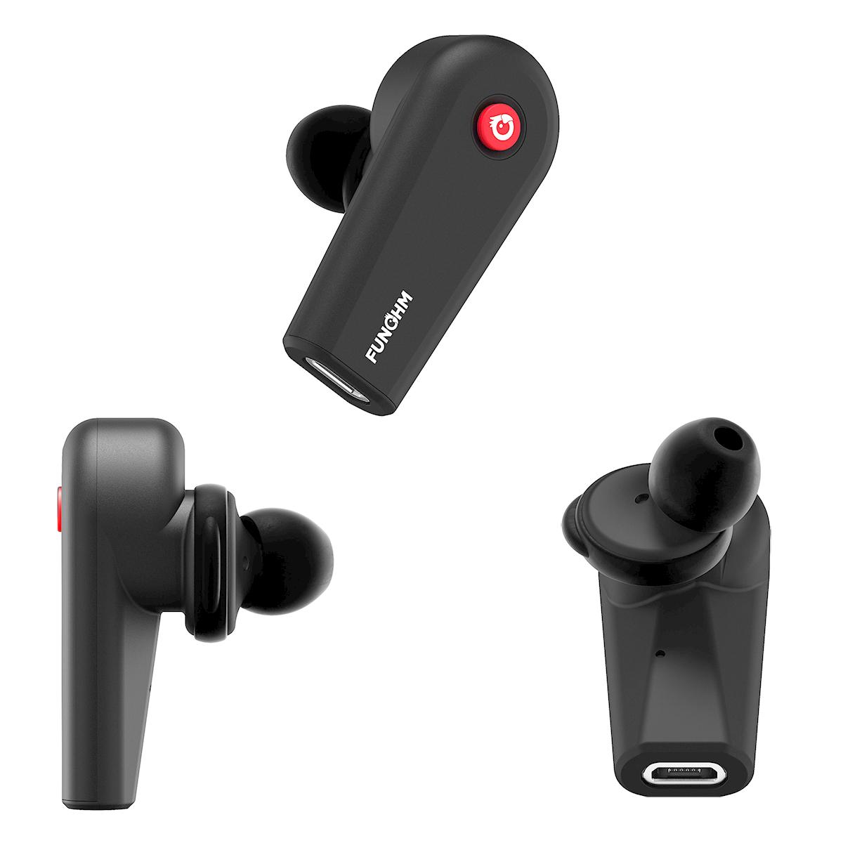 「耳の3点」にフィットさせることで、力をかけずに、イヤホンを固定させる独自設計のワイヤレスイヤホン|FUNOHM