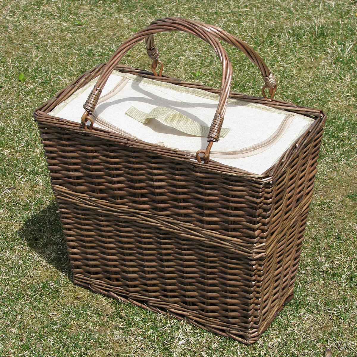 柳を編んだクラシックなデザインの伝統的なバスケット型の保冷バッグ|チェルシーフードクーラー