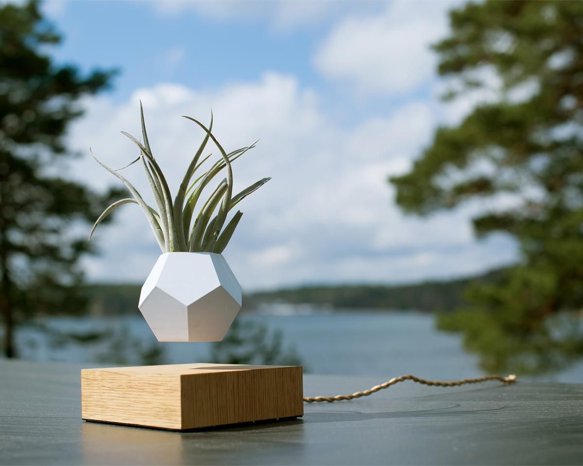 お洒落でスタイリッシュ。磁力で宙に浮いて回転する観葉植物プランター | LYFE
