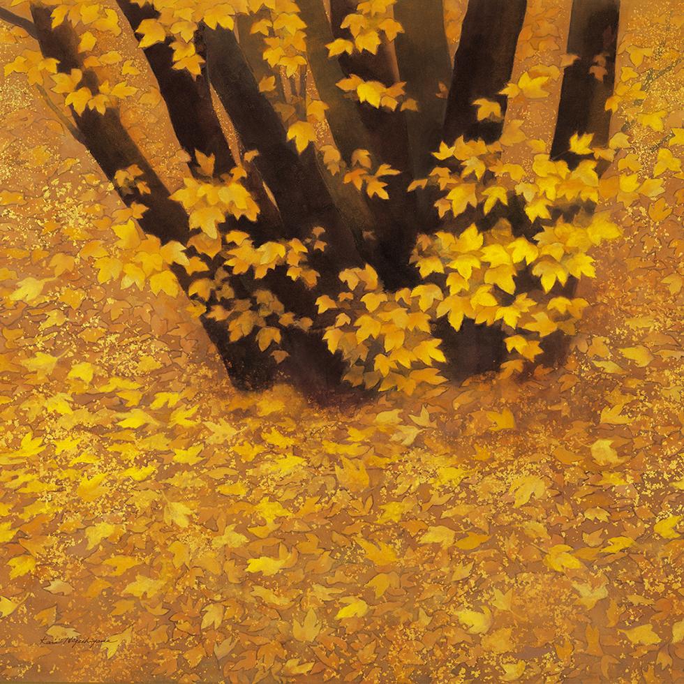 日本画家・東山魁夷の日本画が描かれたシ風呂敷「行く秋」