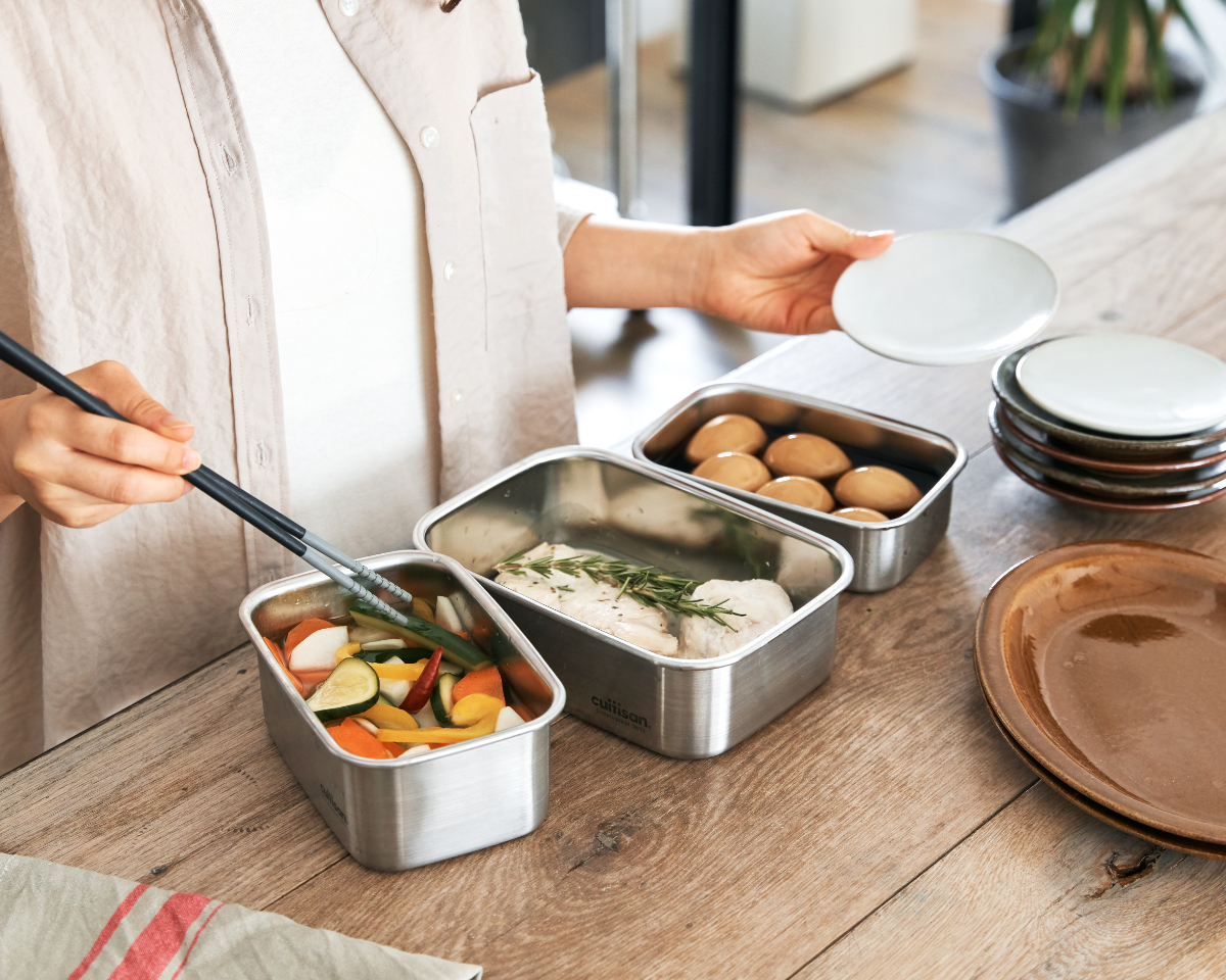 レンジ調理ができる万能なステンレス保存容器|電子レンジ・オーブン・冷凍・食洗機OK、調理もできるステンレス保存容器(大中小3点セット)|cuitisan(クイッティサン)
