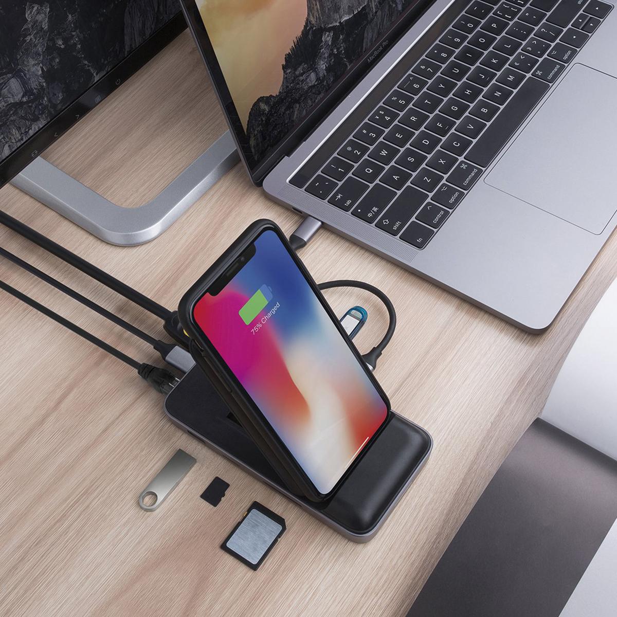 本体にある8つのポートを、多くのパソコンに内蔵されているType-Cケーブル1本にまとめることで、デクスまわりをすっきり整理することができる「8in1 USB-Cハブ+ワイヤレス充電器」|Hyper Drive