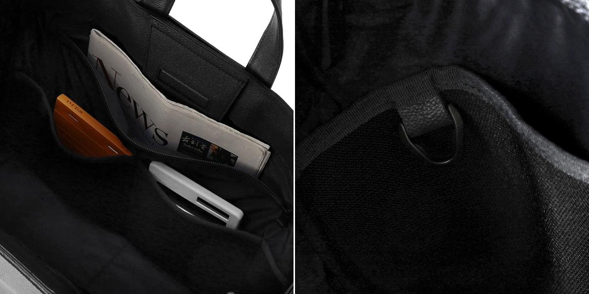 負荷分散できる仕切り・ポケット構造|防水レザー、超軽量、直感ポケット付きの日本製レザーバッグ|PCバッグ・トートバッグ・リュック・バックパック|FARO(ファーロ)