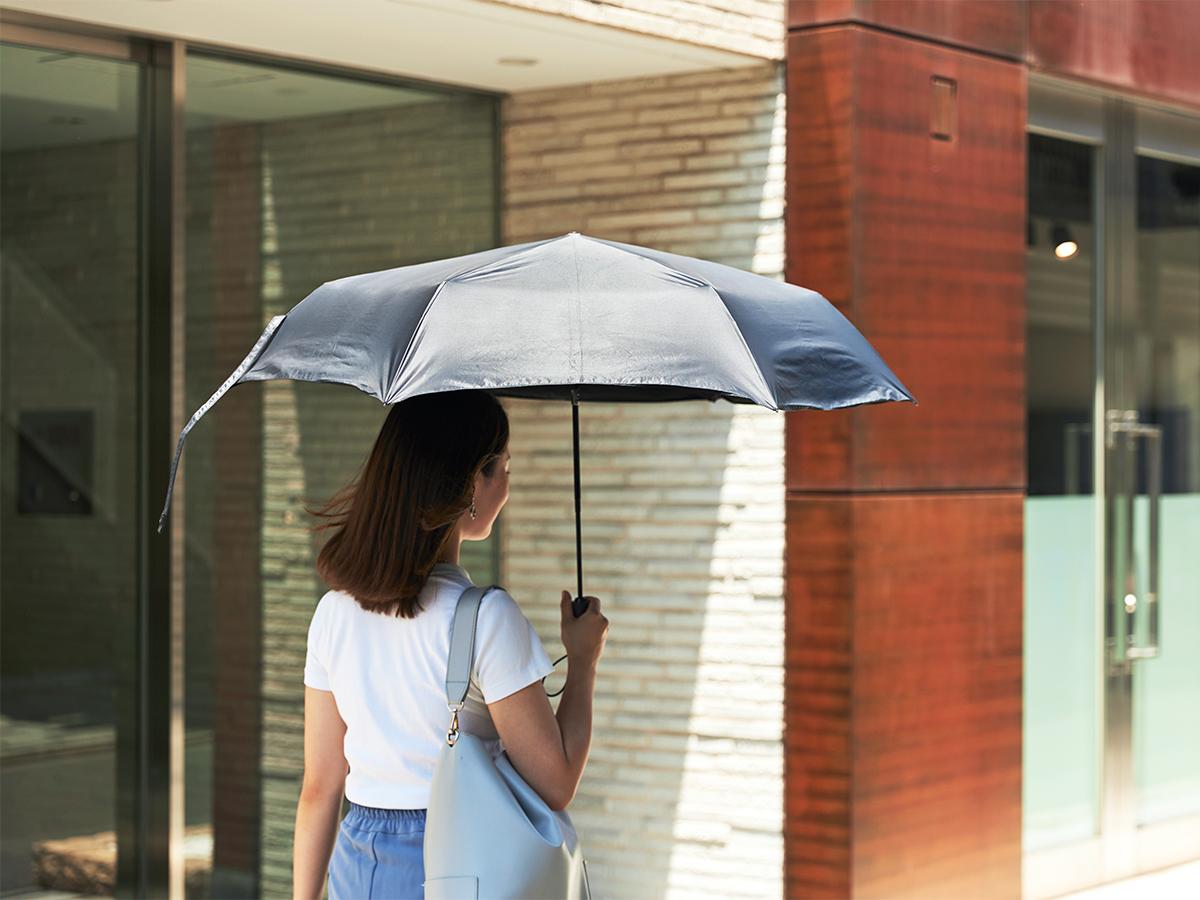 信頼できる日本の傘メーカー『Amvel(アンベル)』。日傘・雨傘|《晴雨兼用》指1本でカンタン開閉!丈夫なコーデュラ生地で仕立てた「自動開閉式折りたたみ遮光傘」|HEAT BLOCK ×CORDURA Fabric|VERYKAL LARGE
