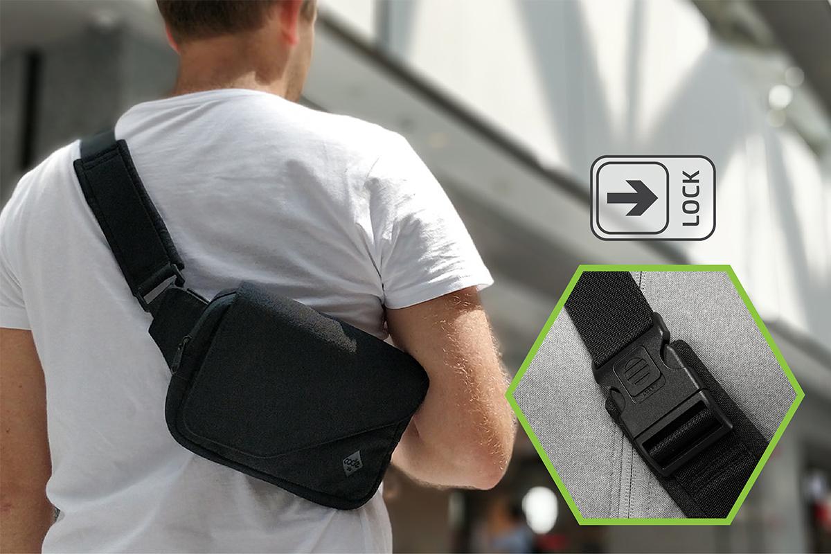 ロック付きのバックルを搭載した錠が掛けられるストラップ付きの着る財布(ボディーバッグ型財布)|Code10