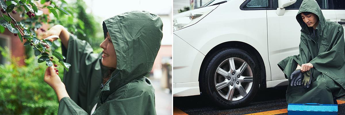 袖があれば、スマホを操作したり、財布を取り出したり、細かい作業も、スムーズ。雨の日も両手フリー、濡れない、蒸れにくい「ポンチョ」|U-DAY PONCHO(ユーデイ ポンチョ)