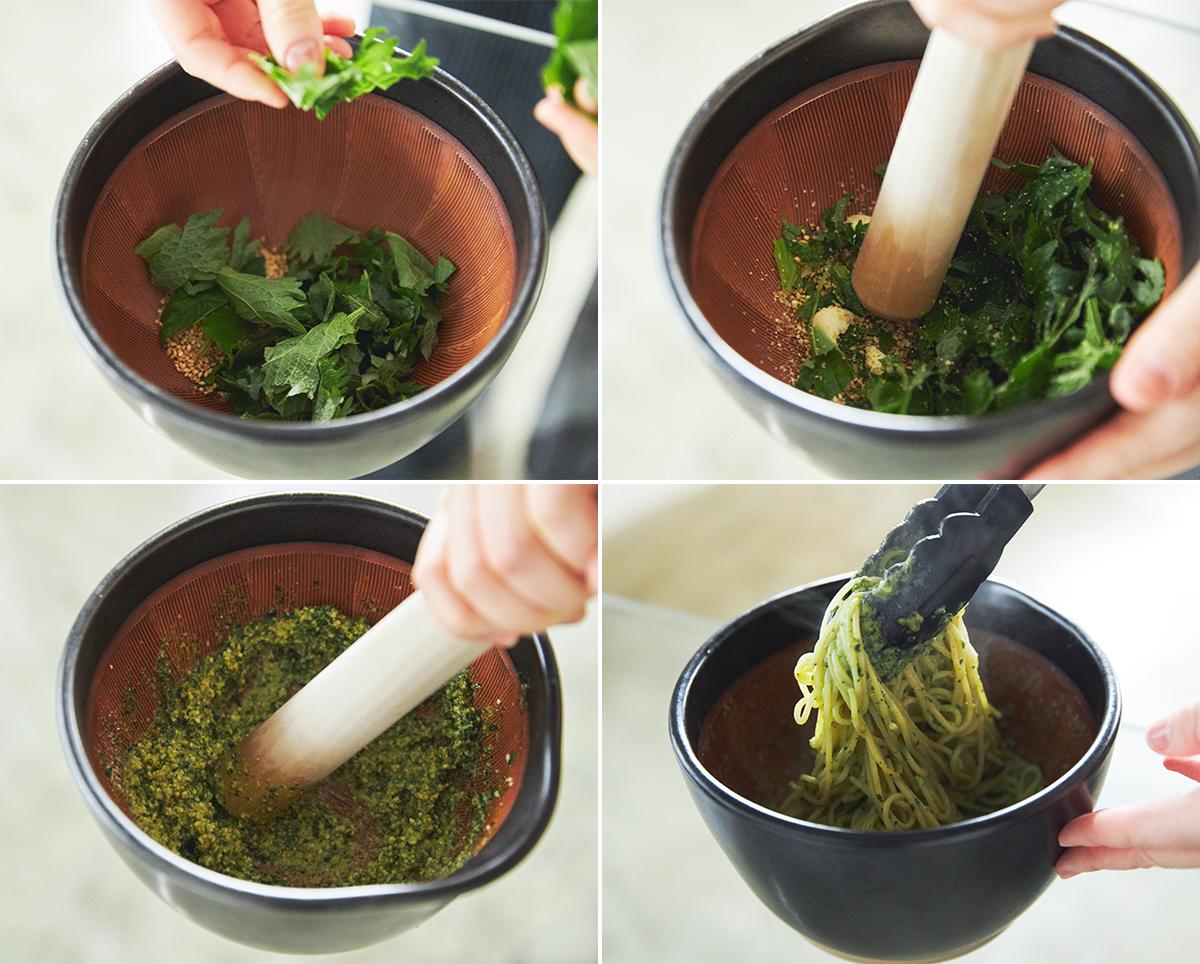 パスタソースも簡単に手間なくできる。鉢の中で玉子サンドやポテトサラダが完成!そのまま器になる石見焼のすり鉢とすりこぎ棒|もとしげ