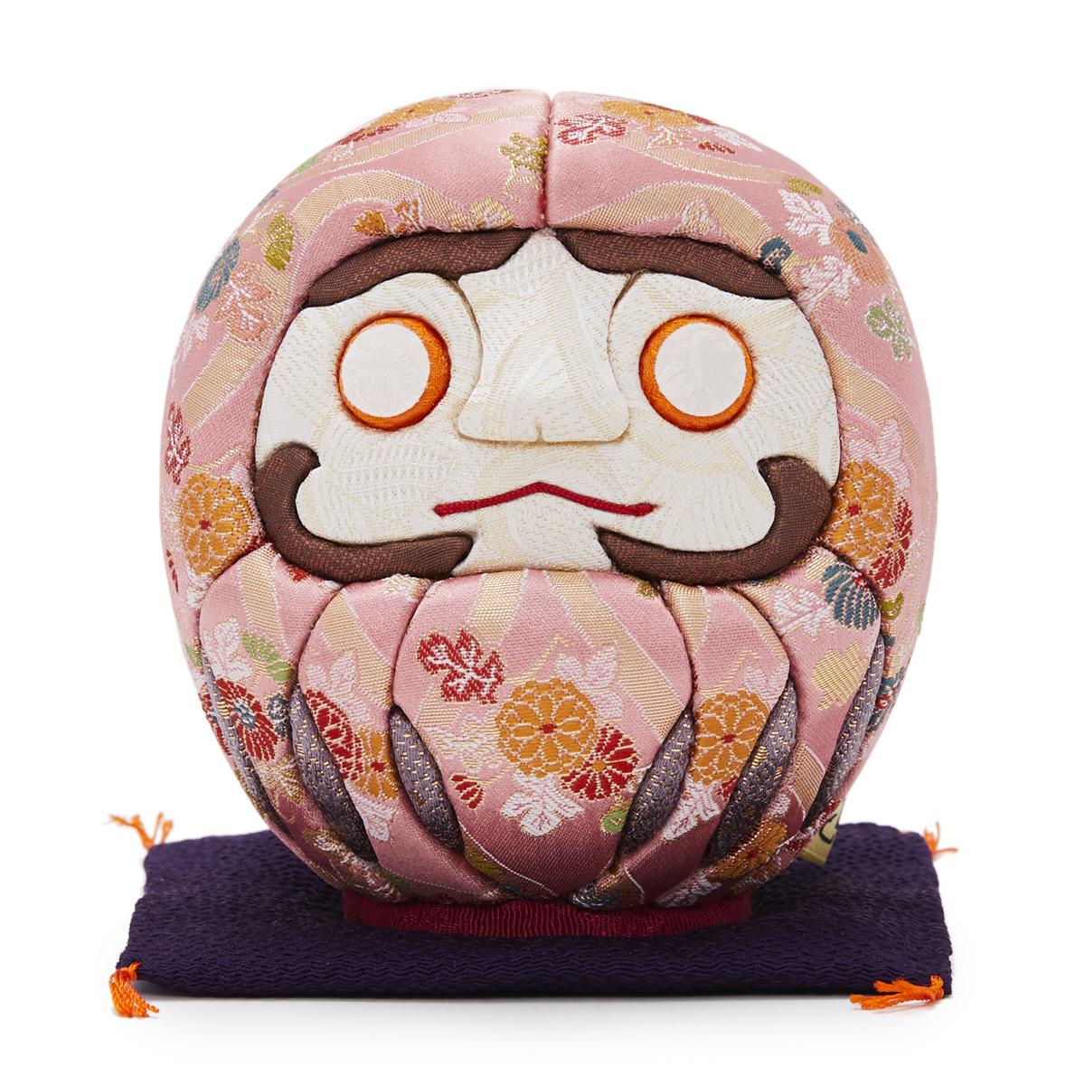 伝統の木目込み技術とモダンデザインが出逢った願掛けだるま 友禅染め 桃・ピンク|柿沼人形