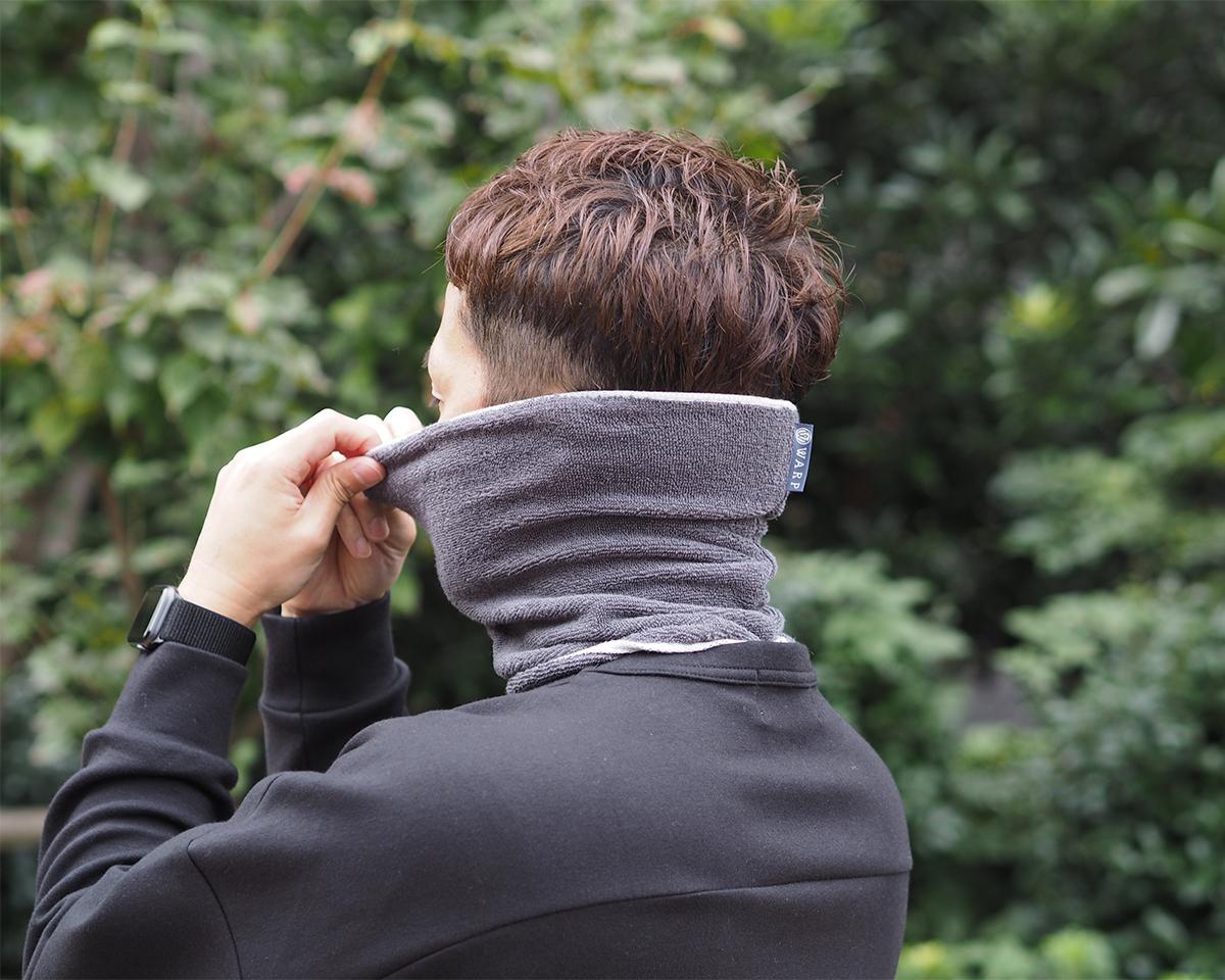 汚れやすい首まわりの汗臭も加齢臭も、臭いの原因になる菌を除去してくれるネックゲーター|酸化チタンと銀の作用で、生乾き臭・汗臭の菌を除去する「タオル」|WARP