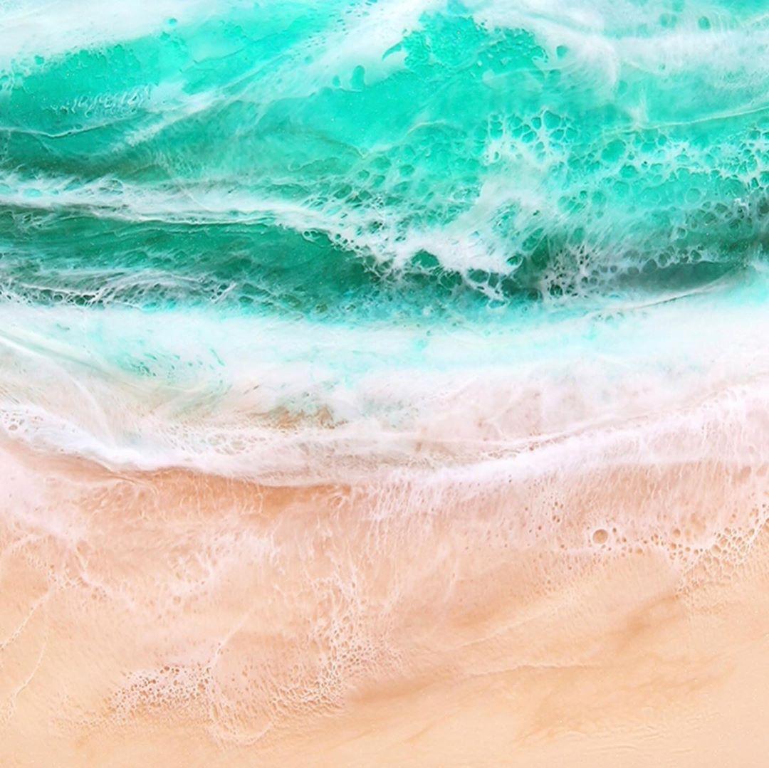 手描きのアート作品「レジンアート」。広げるだけで、どこでもビーチ気分!手のひらサイズにたためる撥水仕様のレジャーシート「OCEAN」(夏限定) Matador POCKET BLANKET