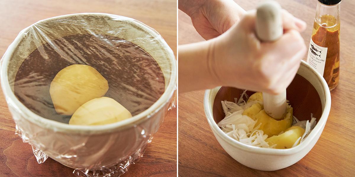 火を使わない「簡単ポテトサラダ」に。鉢の中で玉子サンドやポテトサラダが完成!そのまま器になる石見焼のすり鉢とすりこぎ棒|もとしげ