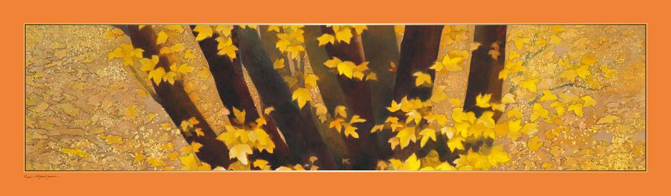 日本画家・東山魁夷の日本画が描かれたシルクストール「行く秋」