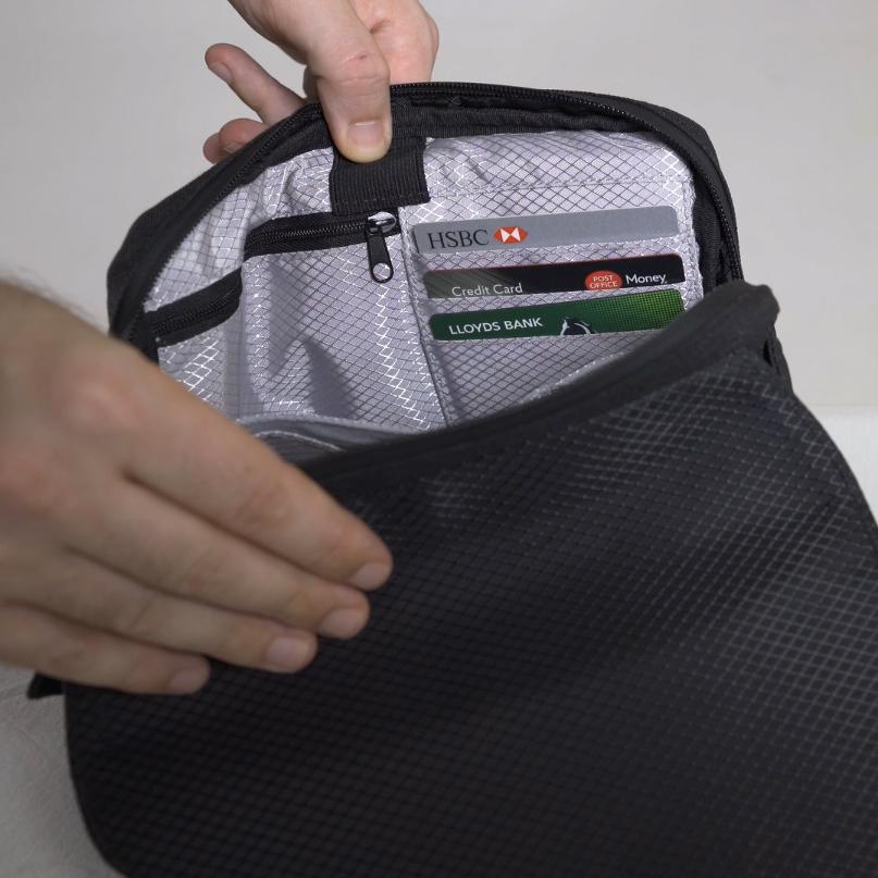 移動がスムーズになる紙幣・カードをそのまま収納できる、着る財布(ボディーバッグ型財布)|Code10