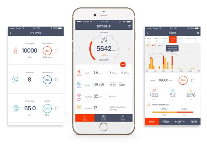 >ひと目で歩数や消費カロリーがわかる、シンプル設計のアプリ24時間、あなたの活動量も睡眠も見守ってくれるスマートウォッチ|noerden(ノエルデン)