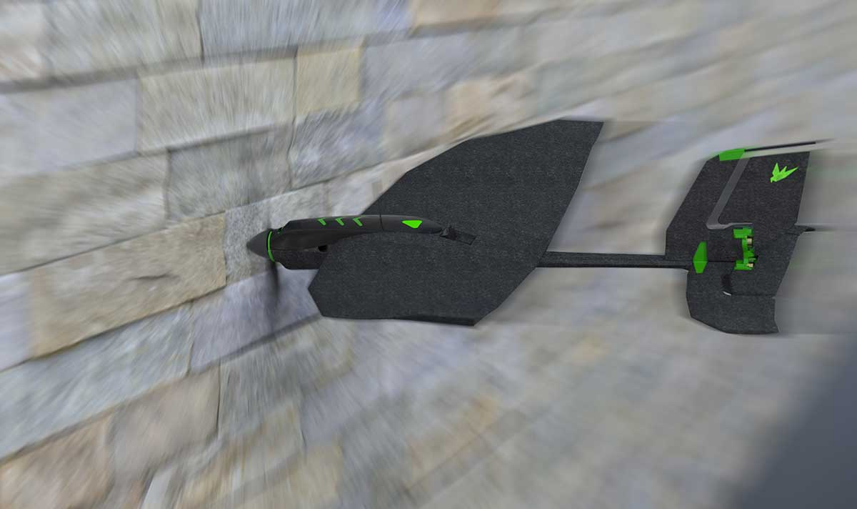 地面や壁にクラッシュしても、衝撃をしっかり吸収。機体が折れたり、スマホとの通信が切れたりすることがない飛行機型ドローン|Toby Rich