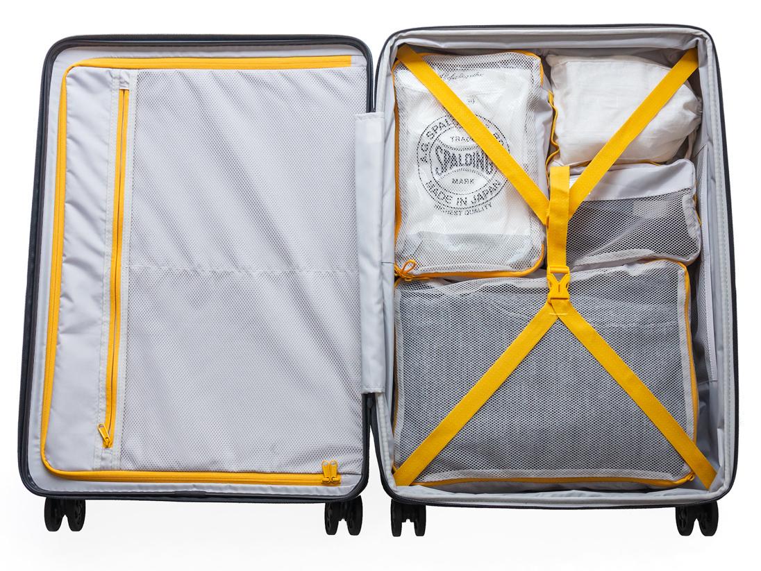 72Lサイズ(6〜8泊の長期旅行に。お子さまの荷物を一緒に入れたい方や、海外への長期滞在にもぴったり)|大小ふたつのサイズを「入れ子収納」できる、機内持ち込み用(37L)&長期旅行用(72L)スーツケースセット| RAWROW | R TRUNK LITE